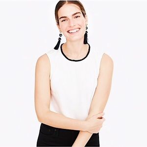 NEW J. Crew Ruffle-neck shell in satin-crepe top